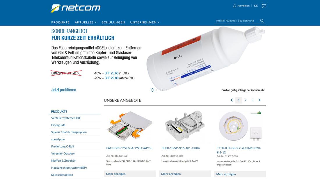 Startseite der Website: Banner mit Infos, Navigation, Angebote
